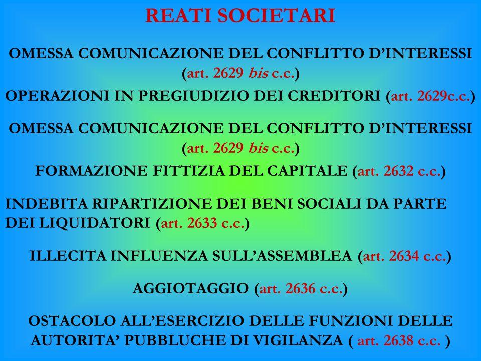 REATI SOCIETARI OMESSA COMUNICAZIONE DEL CONFLITTO D'INTERESSI (art. 2629 bis c.c.) OPERAZIONI IN PREGIUDIZIO DEI CREDITORI (art. 2629c.c.)