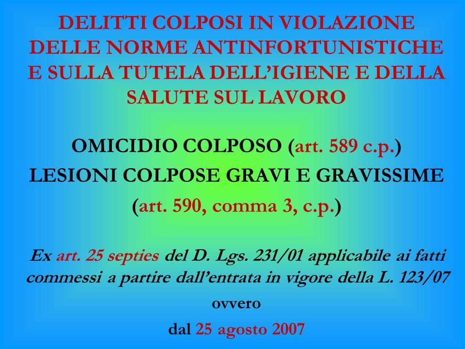 OMICIDIO COLPOSO (art. 589 c.p.) LESIONI COLPOSE GRAVI E GRAVISSIME
