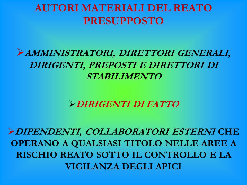 AUTORI MATERIALI DEL REATO PRESUPPOSTO