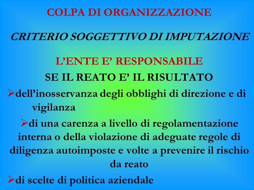 COLPA DI ORGANIZZAZIONE CRITERIO SOGGETTIVO DI IMPUTAZIONE