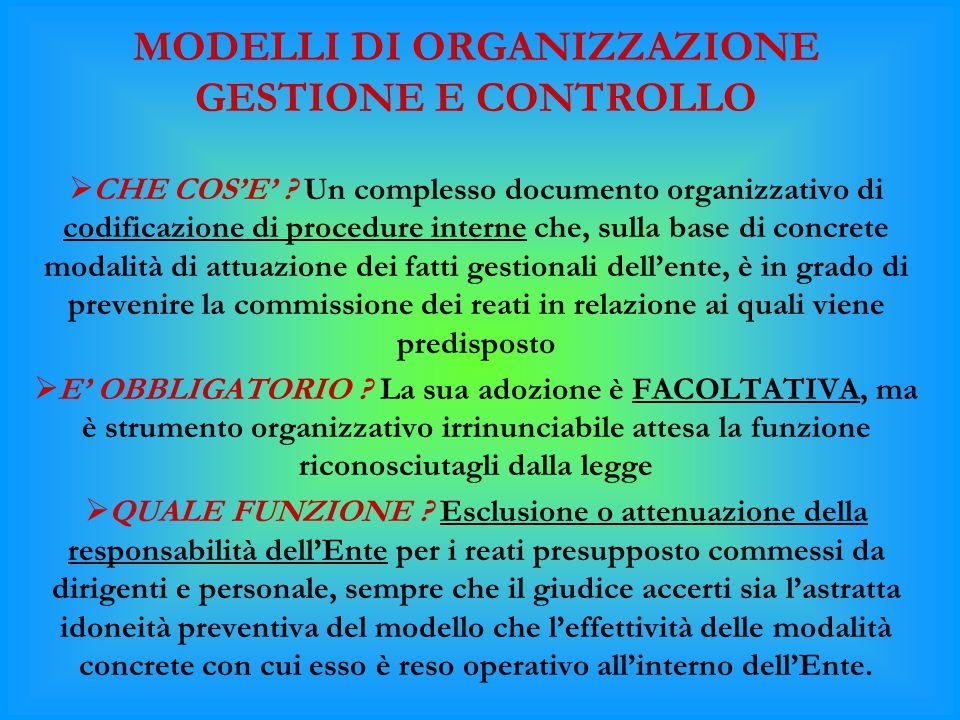 MODELLI DI ORGANIZZAZIONE GESTIONE E CONTROLLO