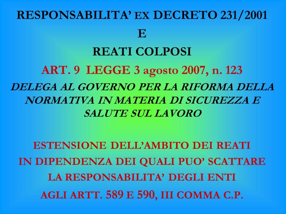 RESPONSABILITA' EX DECRETO 231/2001 E REATI COLPOSI