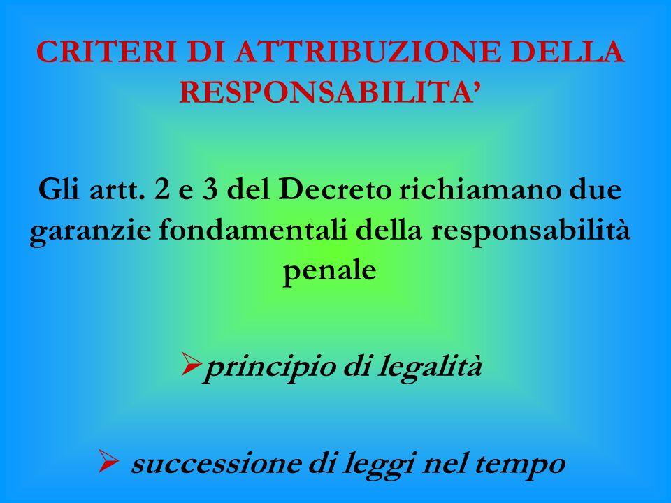 CRITERI DI ATTRIBUZIONE DELLA RESPONSABILITA'