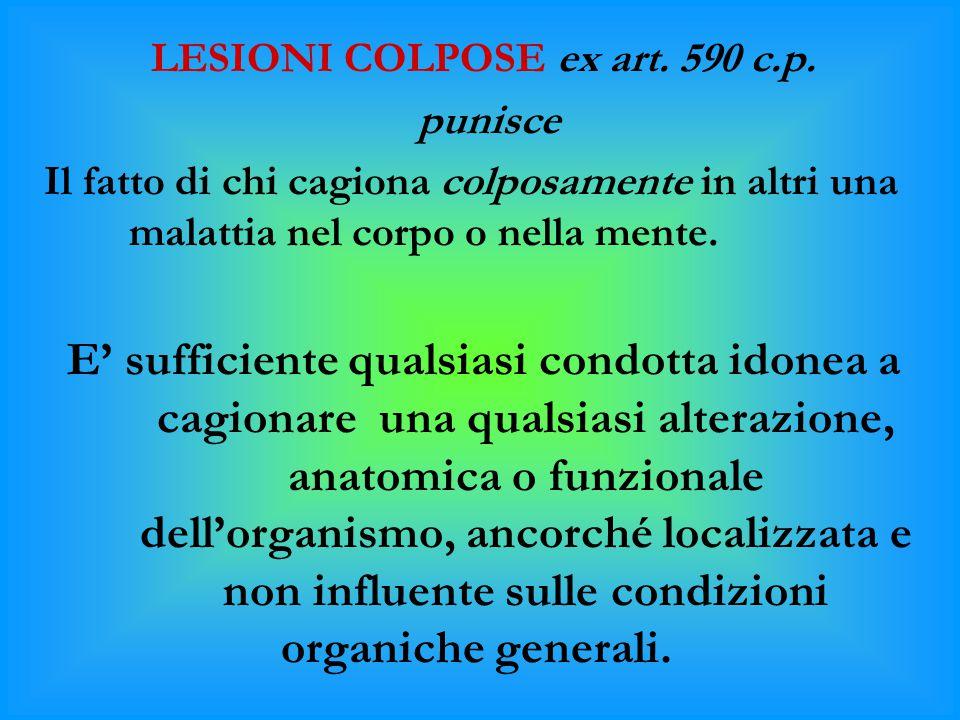LESIONI COLPOSE ex art. 590 c.p.