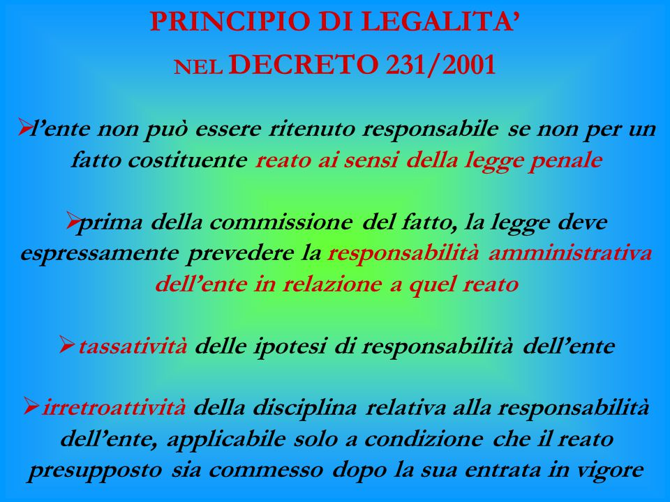 PRINCIPIO DI LEGALITA'