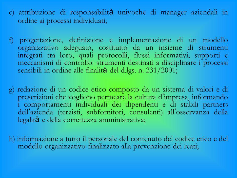 e) attribuzione di responsabilità univoche di manager aziendali in ordine ai processi individuati;