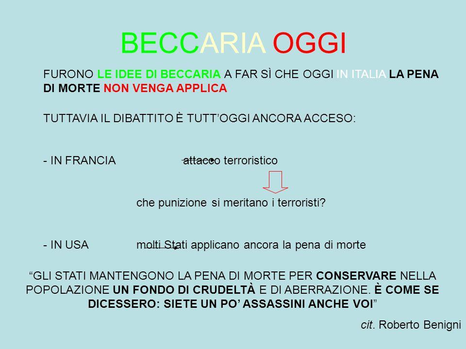 BECCARIA OGGI FURONO LE IDEE DI BECCARIA A FAR SÌ CHE OGGI IN ITALIA LA PENA DI MORTE NON VENGA APPLICA.