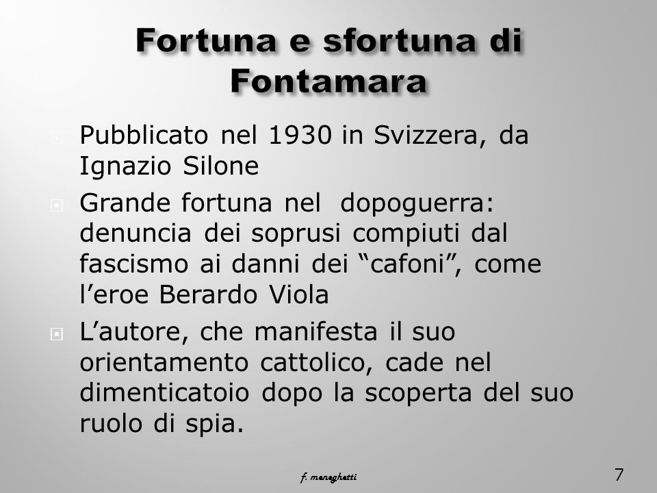 Fortuna e sfortuna di Fontamara
