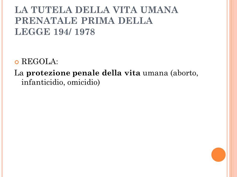 LA TUTELA DELLA VITA UMANA PRENATALE PRIMA DELLA LEGGE 194/ 1978