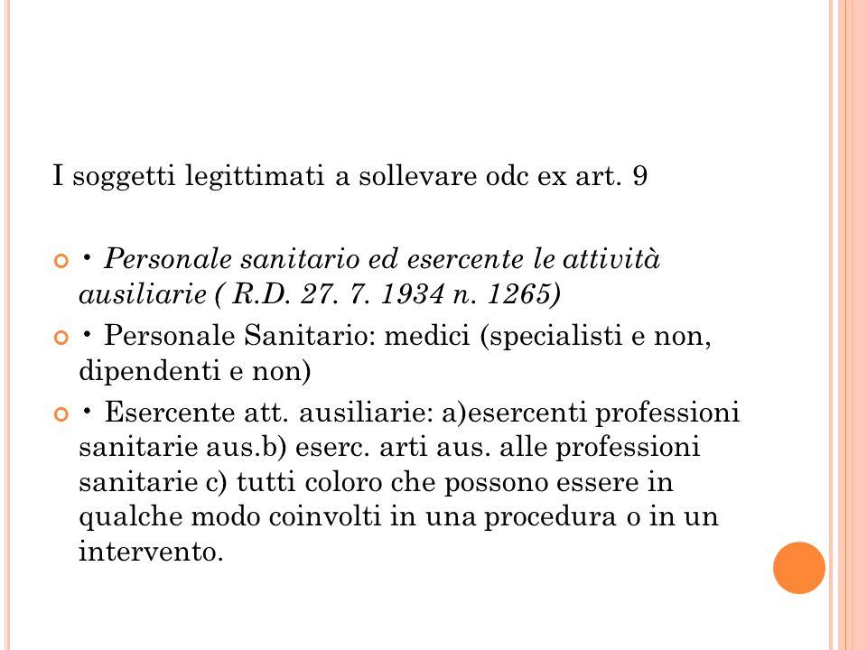 I soggetti legittimati a sollevare odc ex art. 9