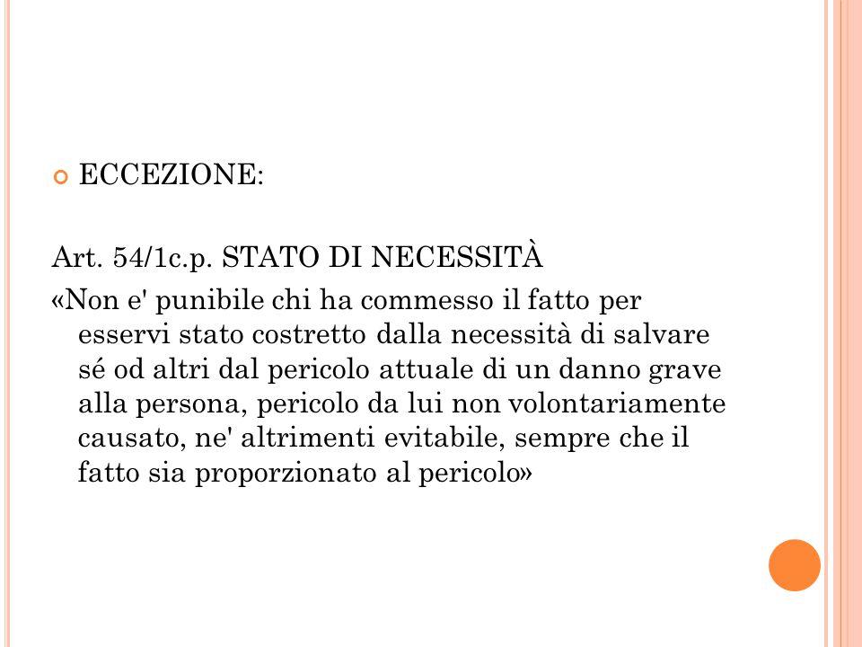 ECCEZIONE: Art. 54/1c.p. STATO DI NECESSITÀ.