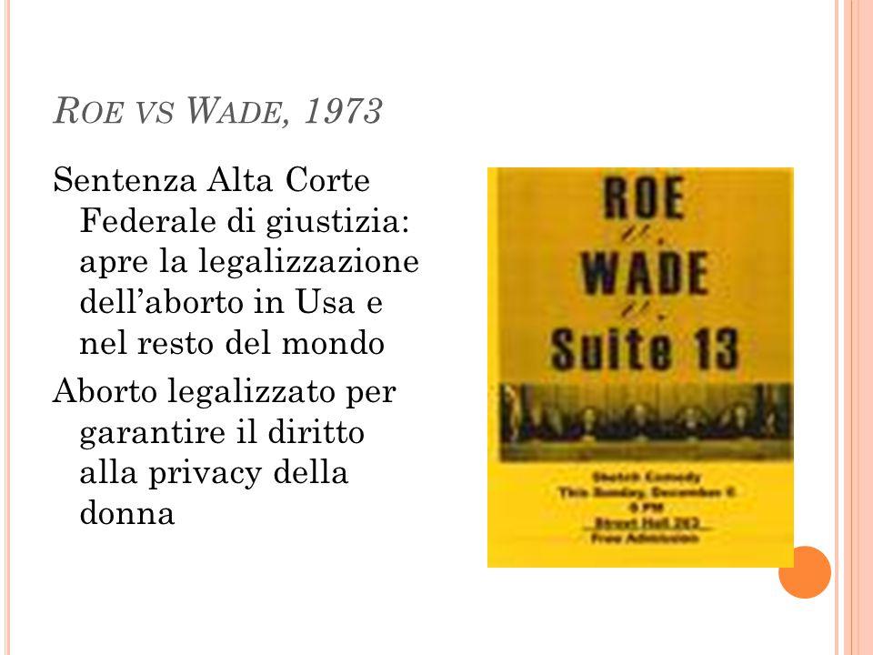 Roe vs Wade, 1973 Sentenza Alta Corte Federale di giustizia: apre la legalizzazione dell'aborto in Usa e nel resto del mondo.