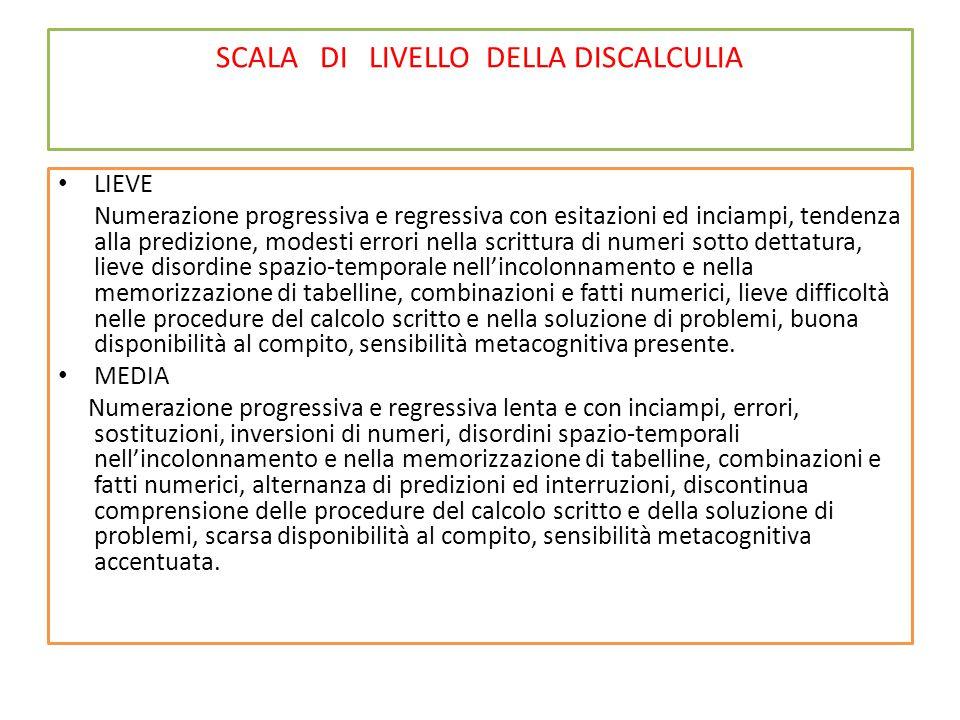 SCALA DI LIVELLO DELLA DISCALCULIA