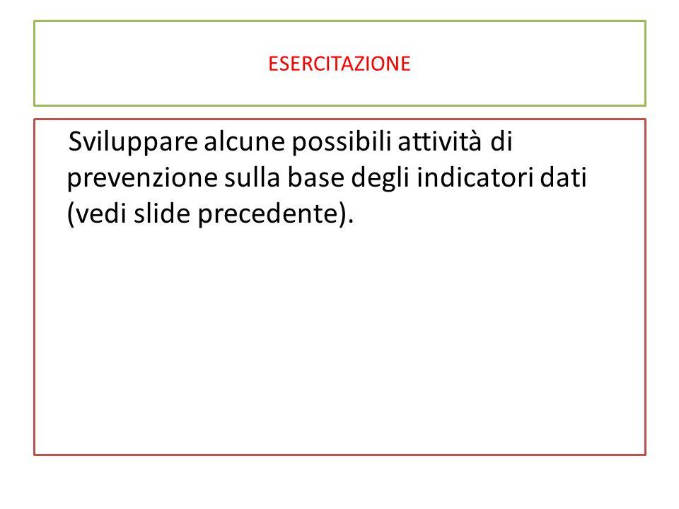 ESERCITAZIONE Sviluppare alcune possibili attività di prevenzione sulla base degli indicatori dati (vedi slide precedente).