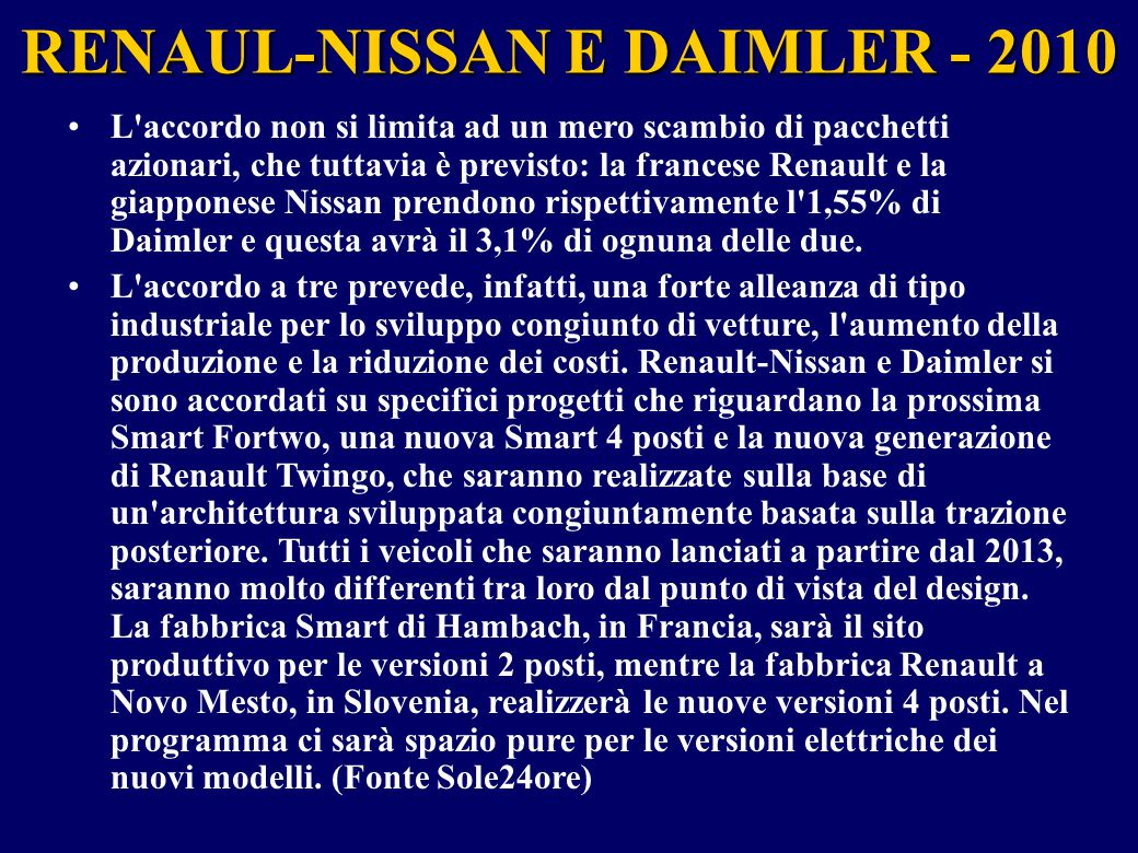 RENAUL-NISSAN E DAIMLER - 2010