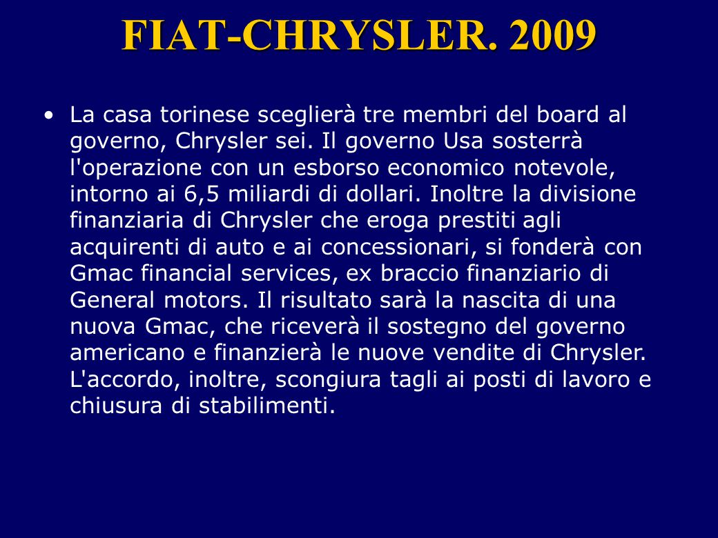 FIAT-CHRYSLER. 2009