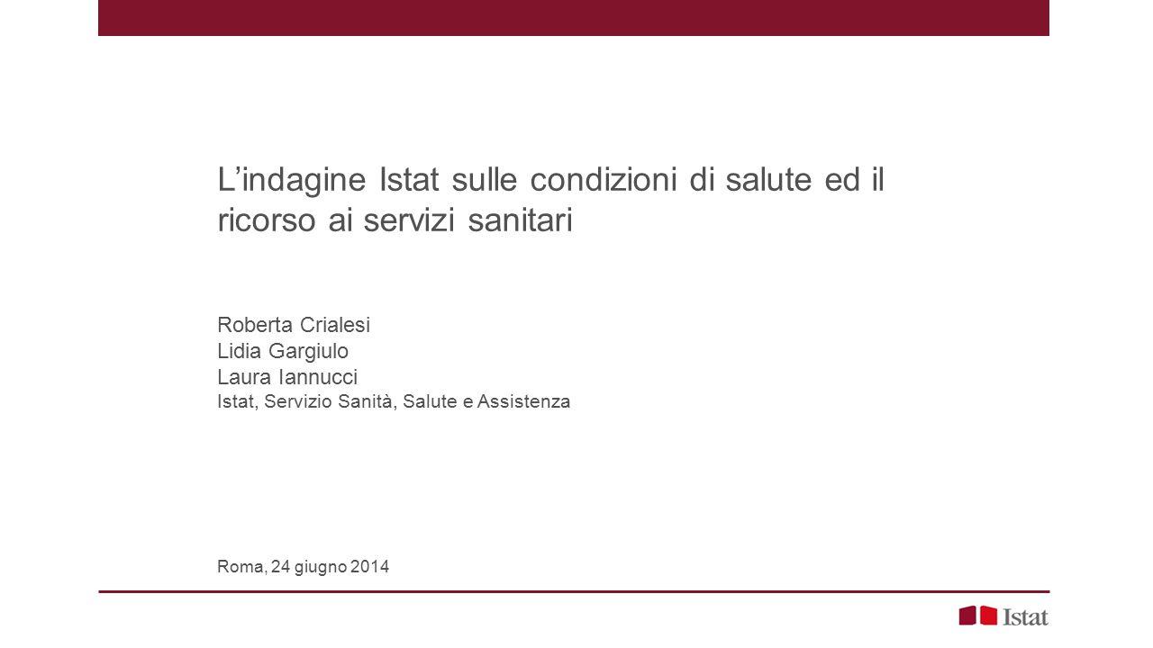 L'indagine Istat sulle condizioni di salute ed il ricorso ai servizi sanitari