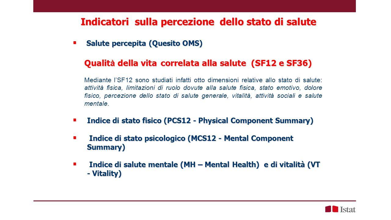 Indicatori sulla percezione dello stato di salute