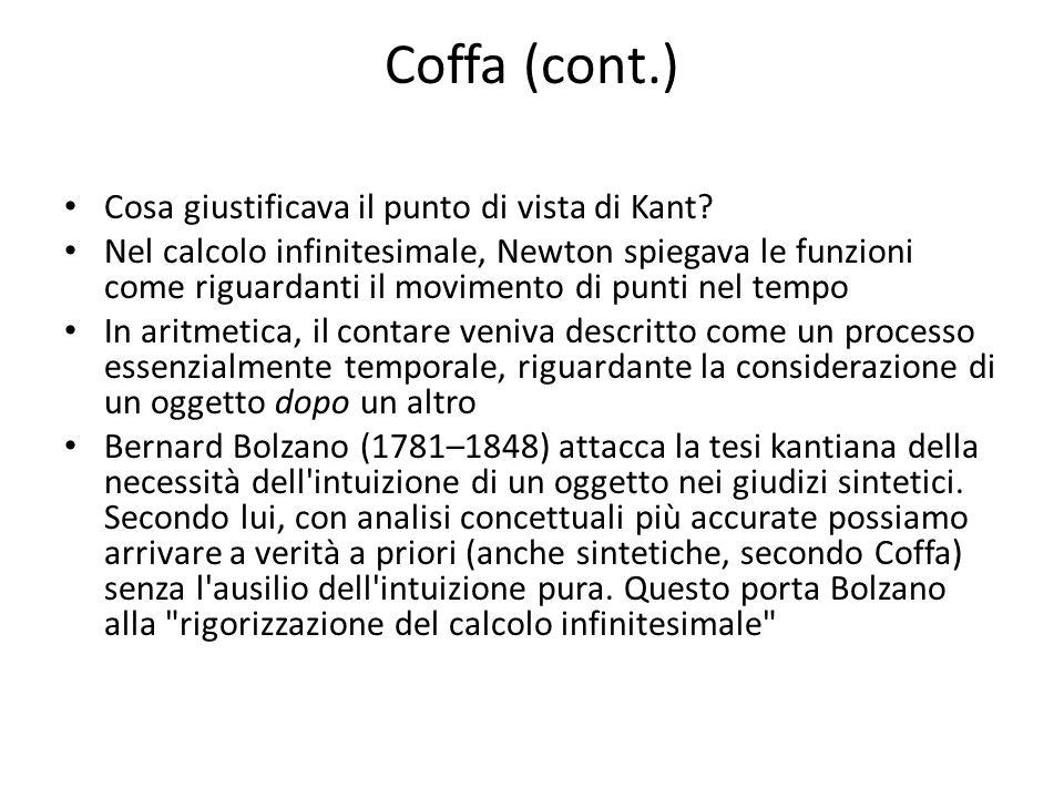 Coffa (cont.) Cosa giustificava il punto di vista di Kant