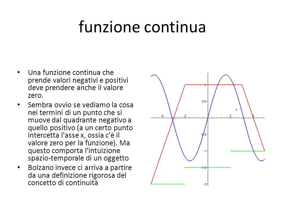 funzione continua Una funzione continua che prende valori negativi e positivi deve prendere anche il valore zero.