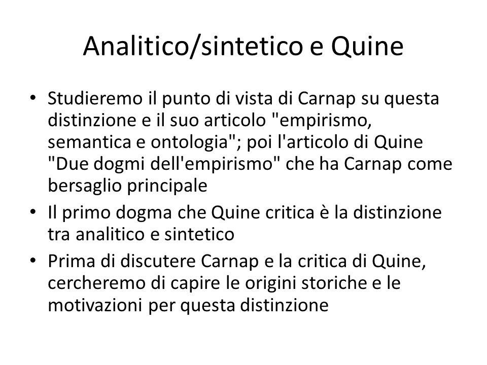 Analitico/sintetico e Quine