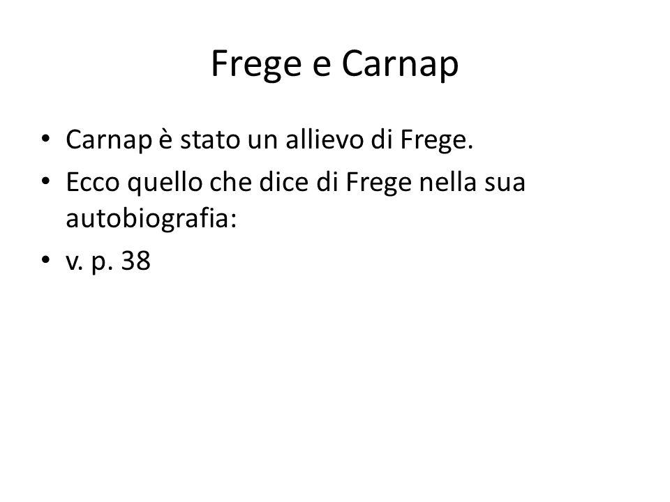 Frege e Carnap Carnap è stato un allievo di Frege.