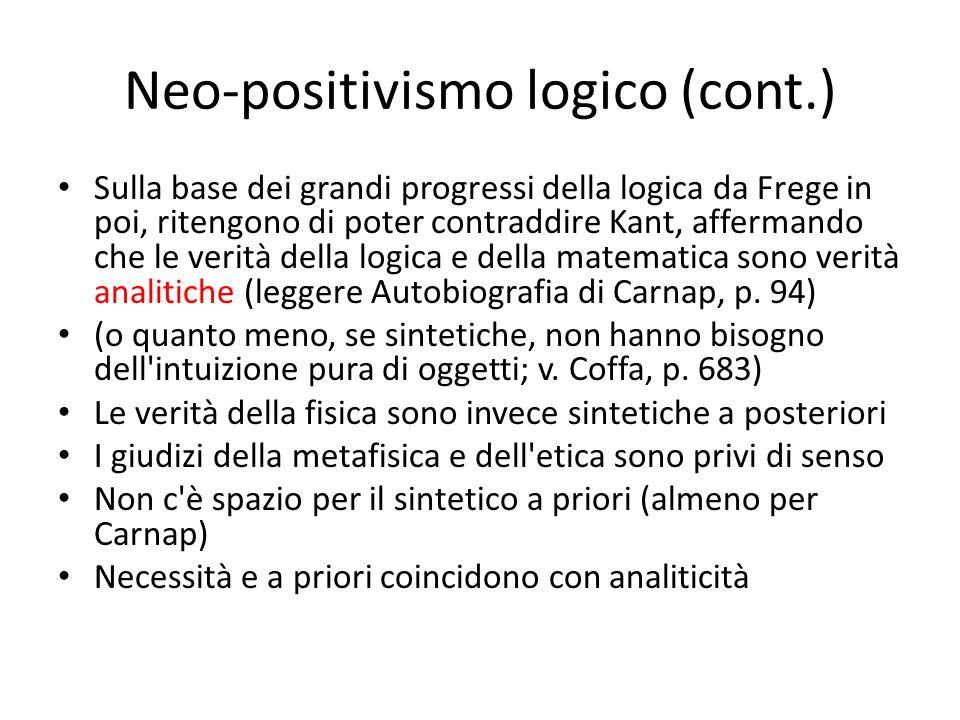 Neo-positivismo logico (cont.)