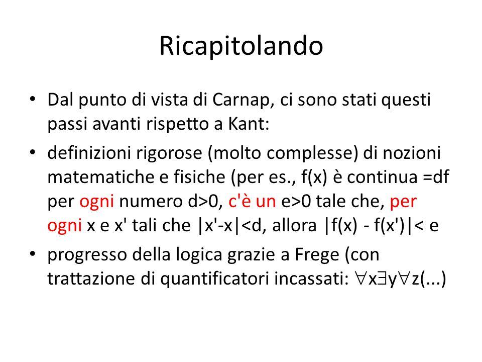 Ricapitolando Dal punto di vista di Carnap, ci sono stati questi passi avanti rispetto a Kant: