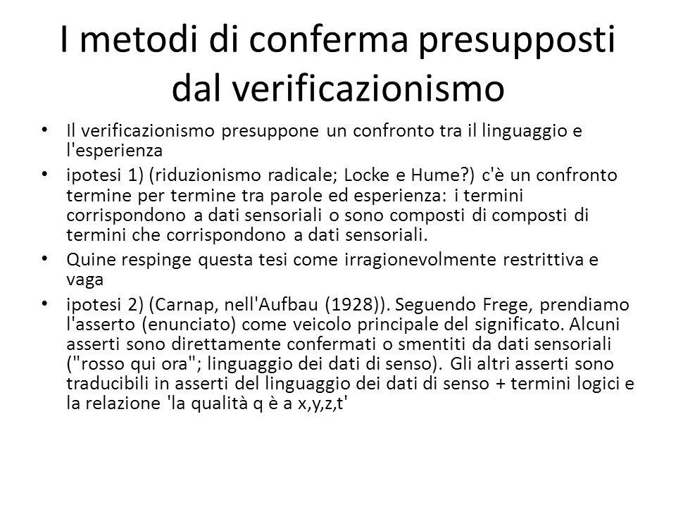 I metodi di conferma presupposti dal verificazionismo
