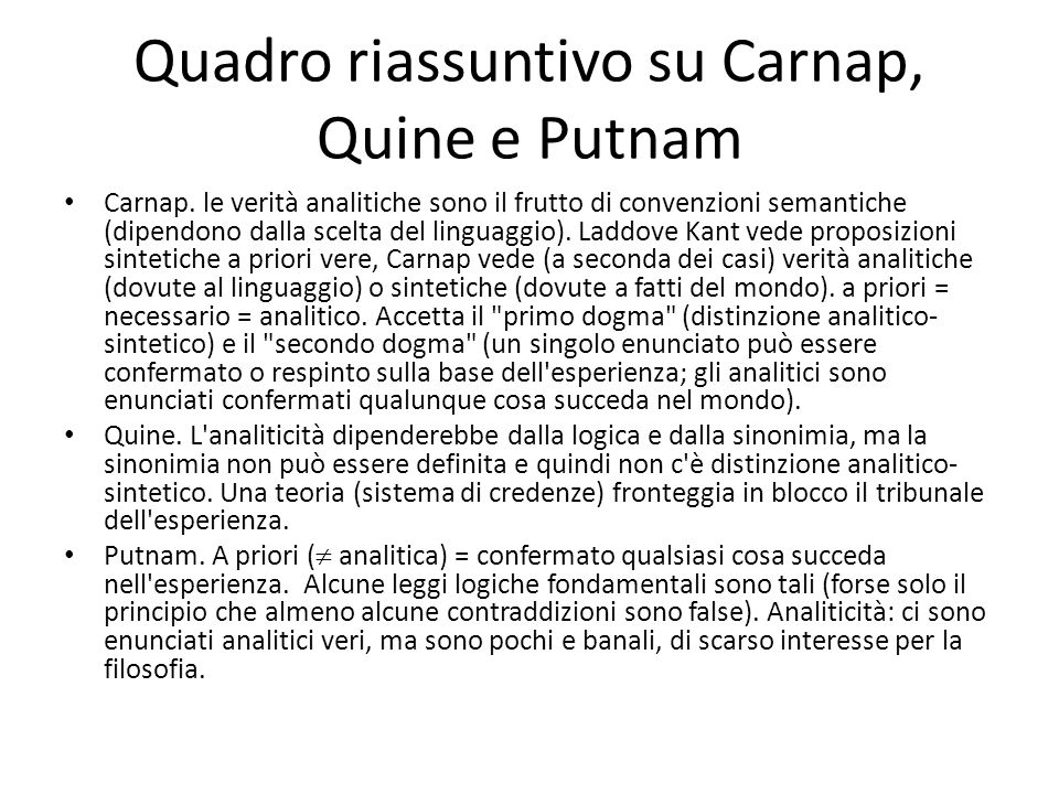 Quadro riassuntivo su Carnap, Quine e Putnam