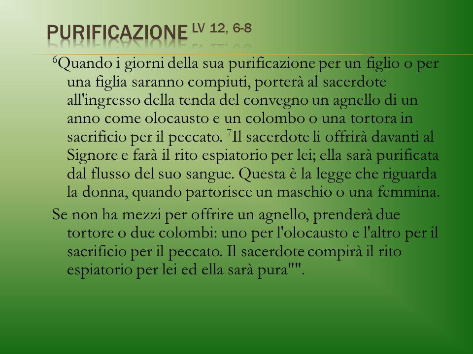 PURIFICAZIONE Lv 12, 6-8