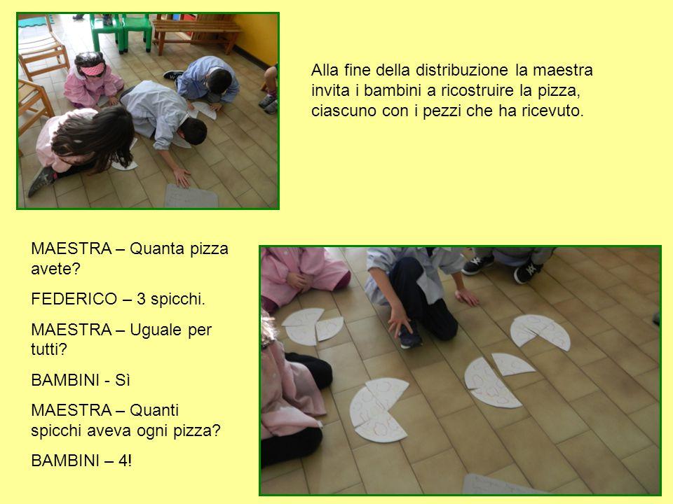 Alla fine della distribuzione la maestra invita i bambini a ricostruire la pizza, ciascuno con i pezzi che ha ricevuto.