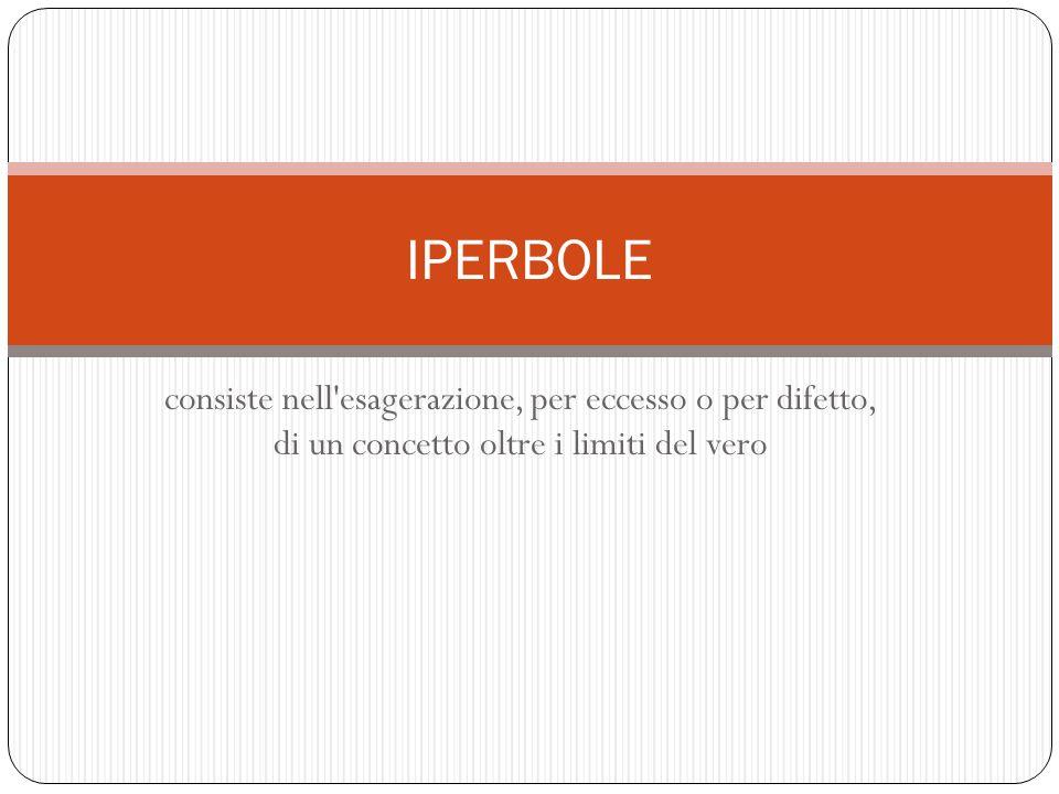 IPERBOLE consiste nell esagerazione, per eccesso o per difetto, di un concetto oltre i limiti del vero.