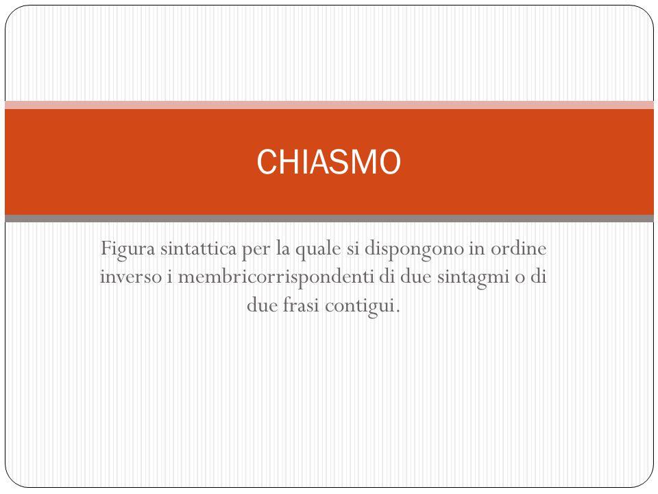 CHIASMO Figura sintattica per la quale si dispongono in ordine inverso i membricorrispondenti di due sintagmi o di due frasi contigui.