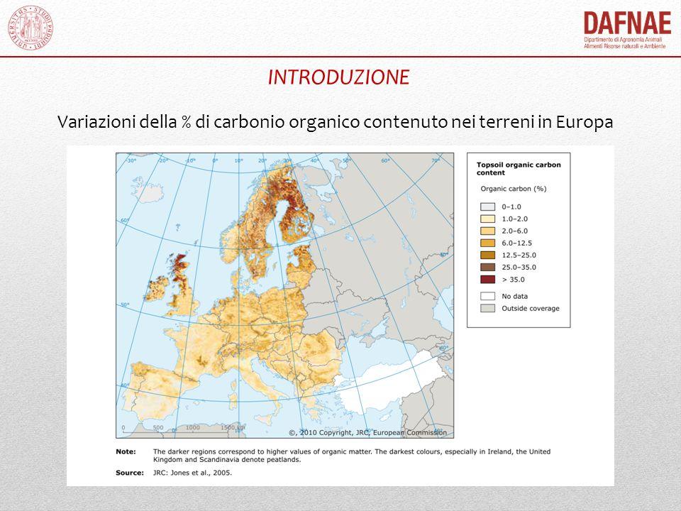 INTRODUZIONE Variazioni della % di carbonio organico contenuto nei terreni in Europa