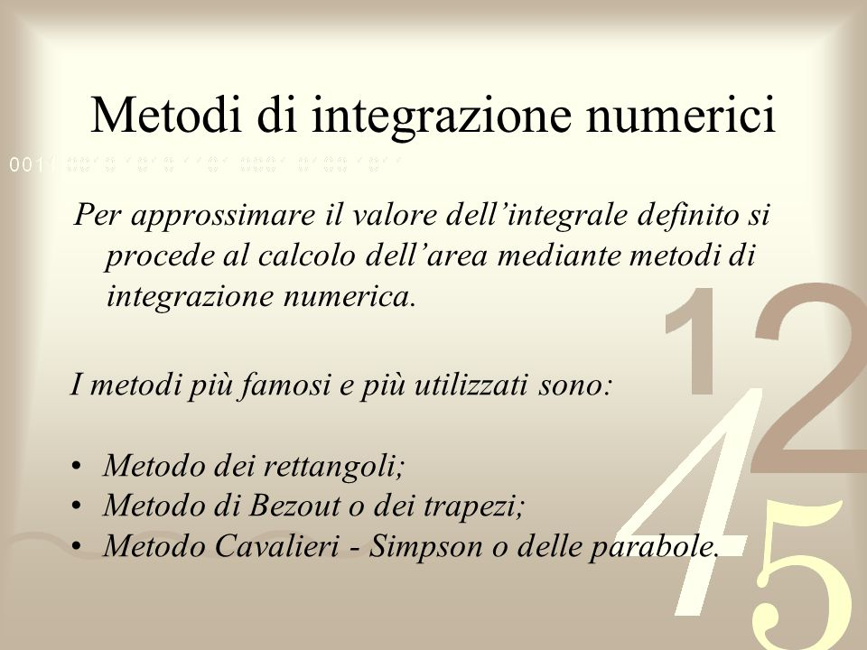 Metodi di integrazione numerici