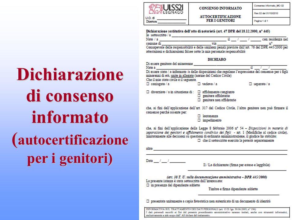 Dichiarazione di consenso informato (autocertificazione per i genitori)