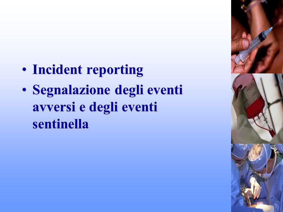 Incident reporting Segnalazione degli eventi avversi e degli eventi sentinella