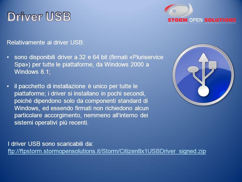 Driver USB Relativamente ai driver USB: