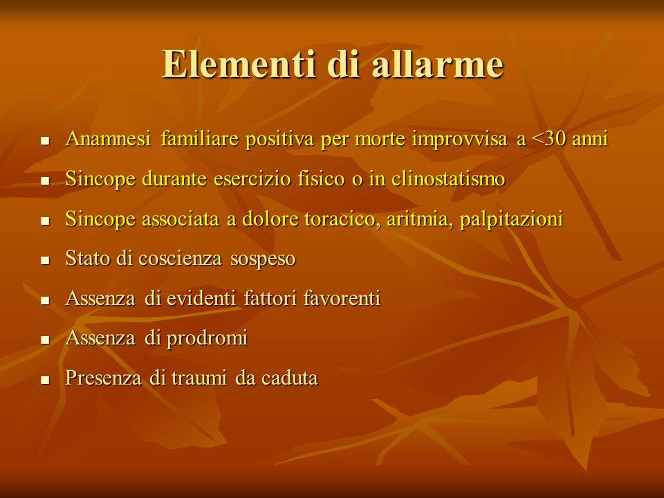 Elementi di allarme Anamnesi familiare positiva per morte improvvisa a <30 anni. Sincope durante esercizio fisico o in clinostatismo.