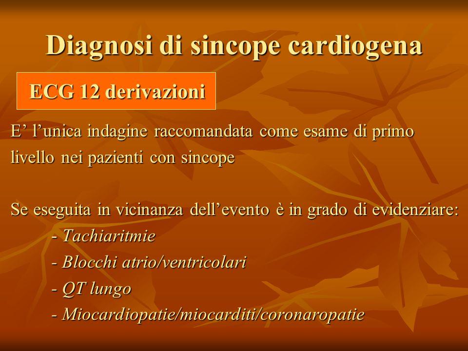 Diagnosi di sincope cardiogena