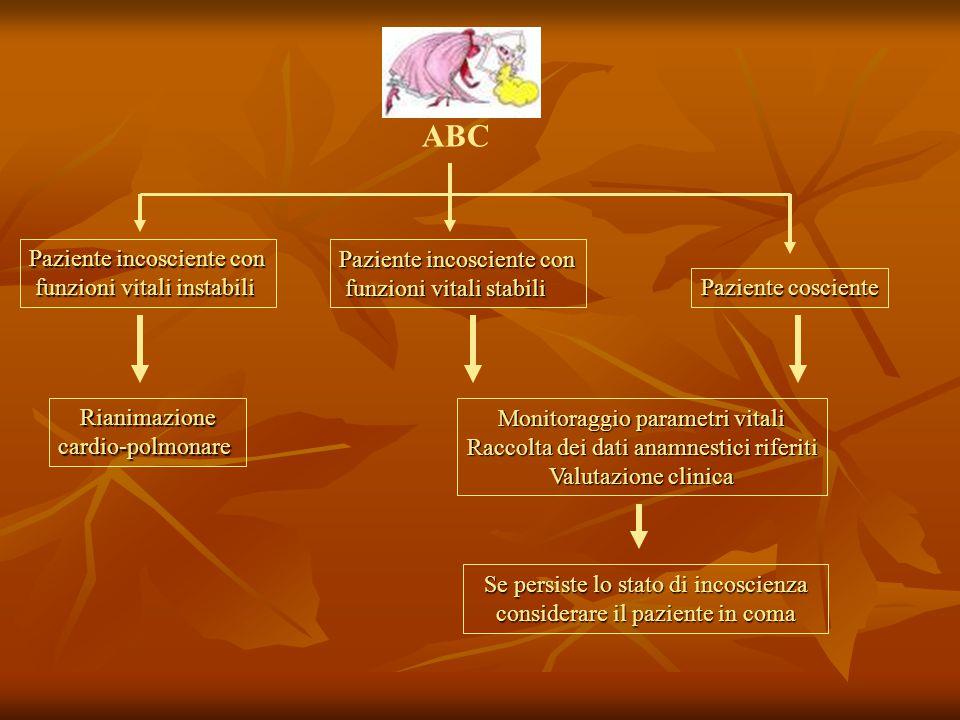 ABC Paziente incosciente con funzioni vitali instabili