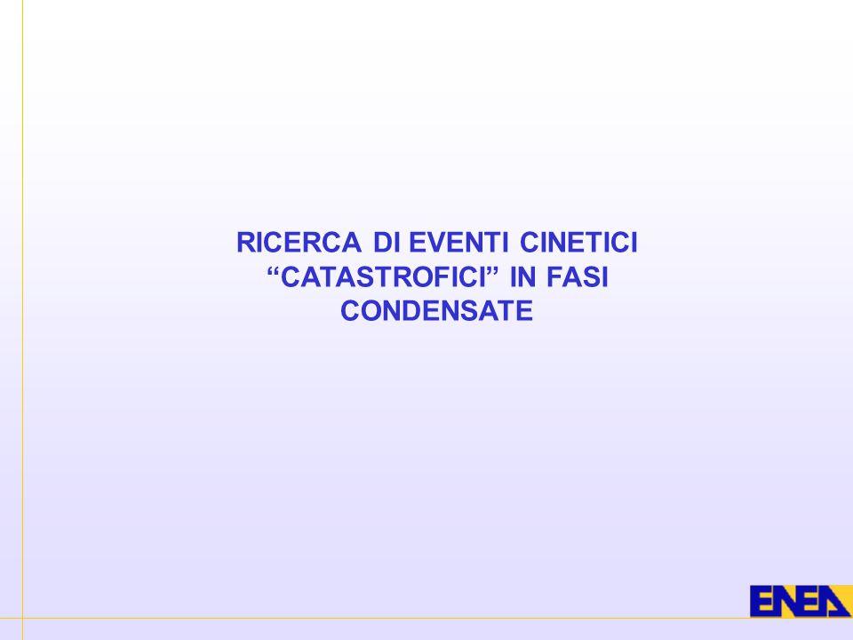 RICERCA DI EVENTI CINETICI CATASTROFICI IN FASI CONDENSATE