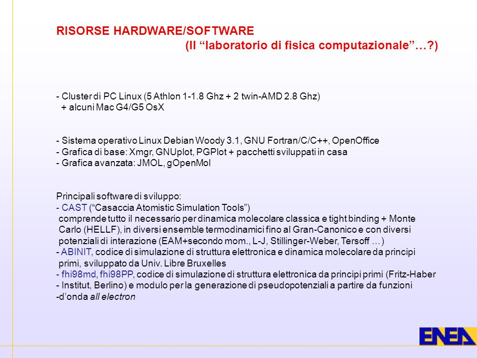 RISORSE HARDWARE/SOFTWARE