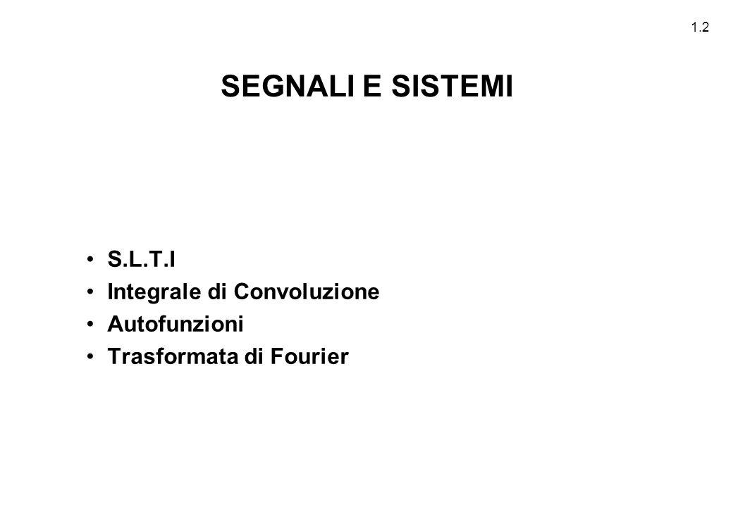 SEGNALI E SISTEMI S.L.T.I Integrale di Convoluzione Autofunzioni