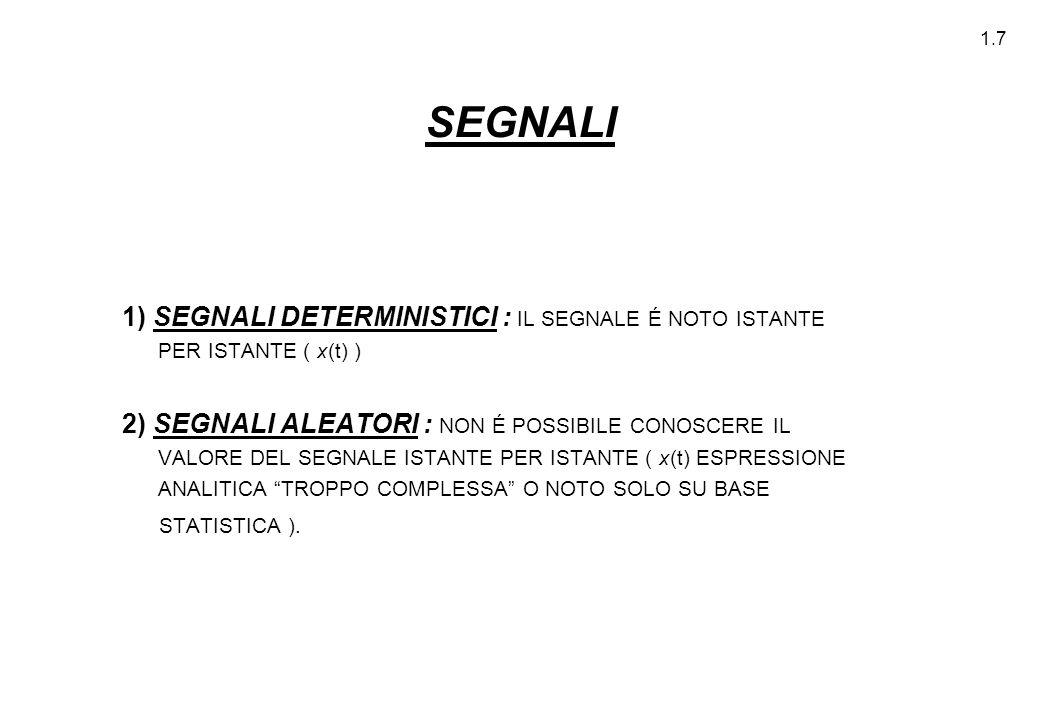 SEGNALI 1) SEGNALI DETERMINISTICI : IL SEGNALE É NOTO ISTANTE