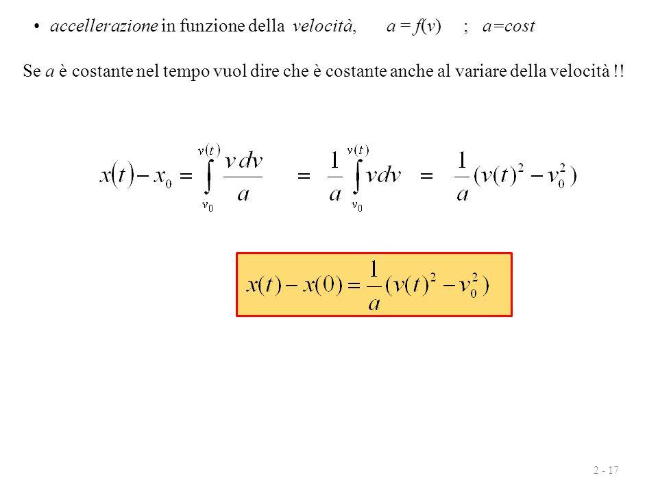 accellerazione in funzione della velocità, a = f(v) ; a=cost