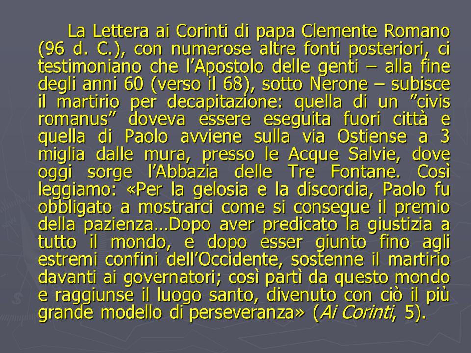 La Lettera ai Corinti di papa Clemente Romano (96 d. C