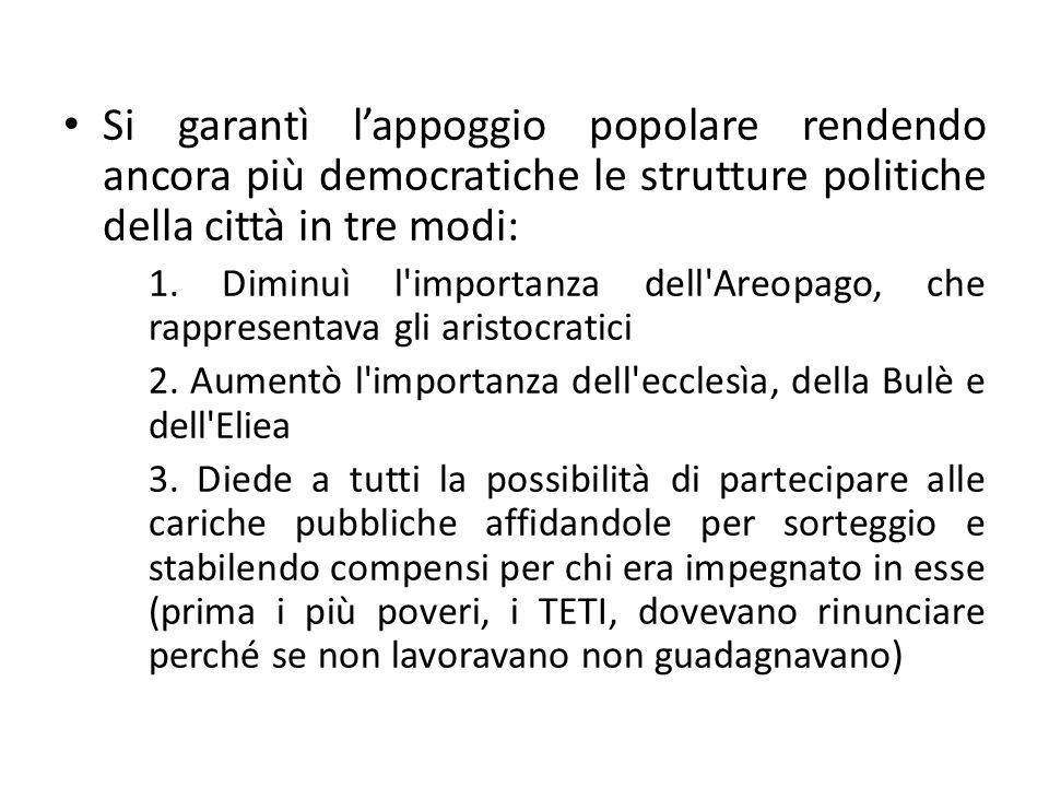 Si garantì l'appoggio popolare rendendo ancora più democratiche le strutture politiche della città in tre modi: