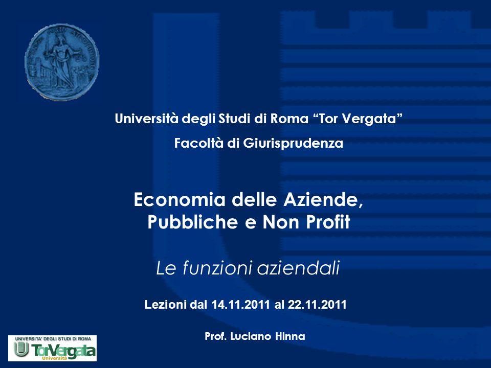 Economia delle Aziende, Pubbliche e Non Profit Le funzioni aziendali